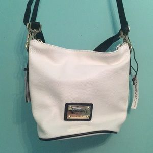 Valentina white bucket bag